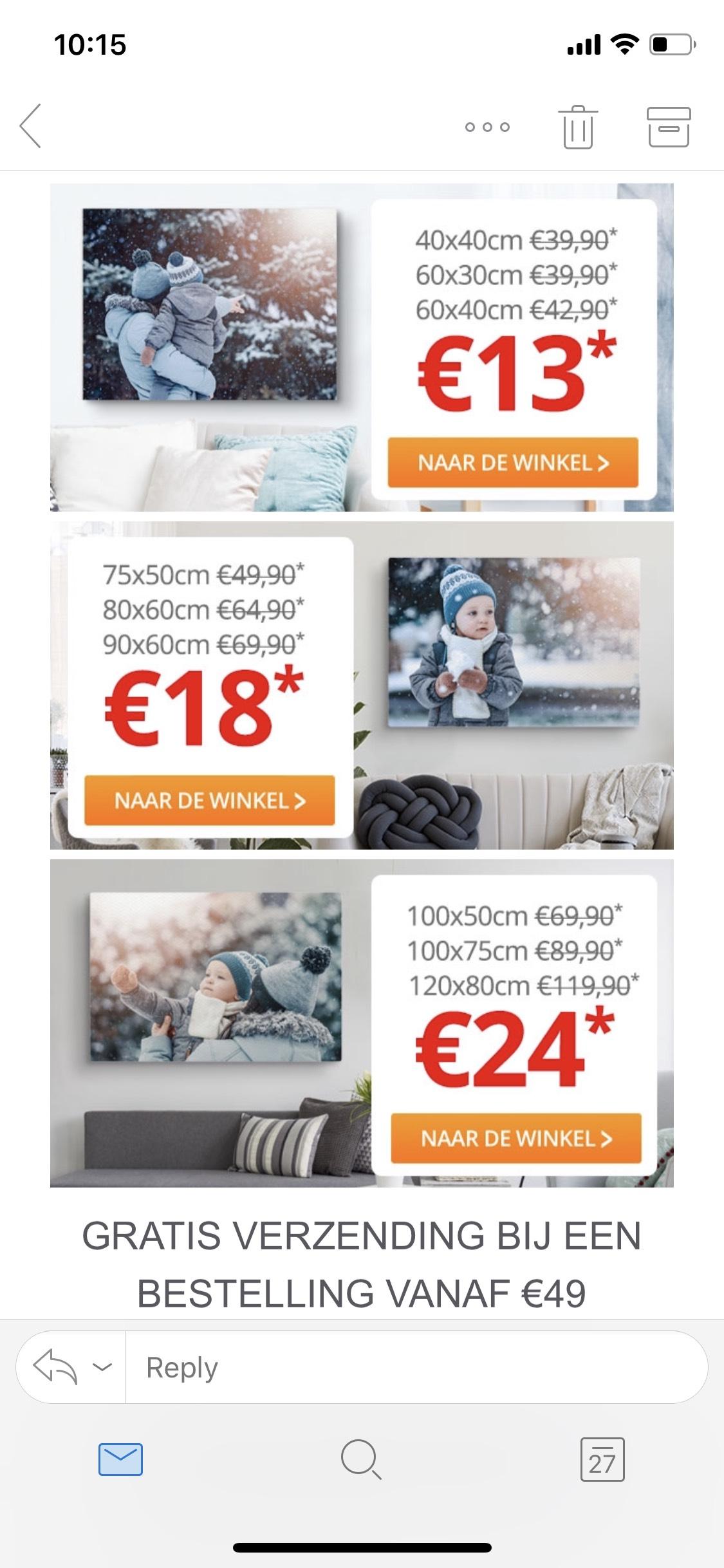Canvas doeken met hoge korting bijv. 60x40 voor 13 euro