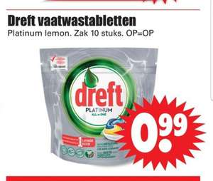 Dreft platinum vaatwastablabletten All in One 10 stuks €0,99 Op = Op @Dirk