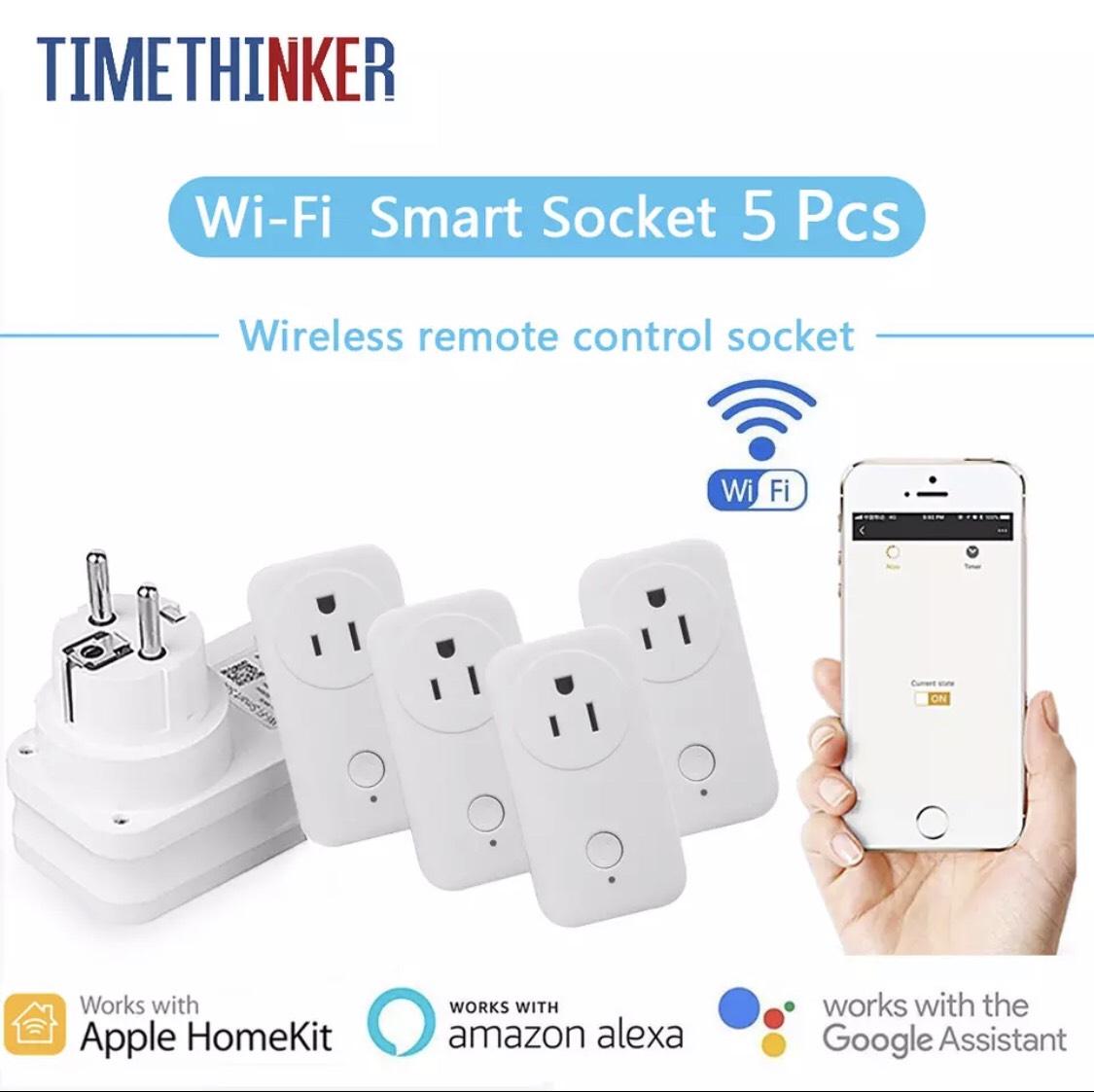 5 x Wifi stekkers (werken met Apple Homekit, Google & Alexa)