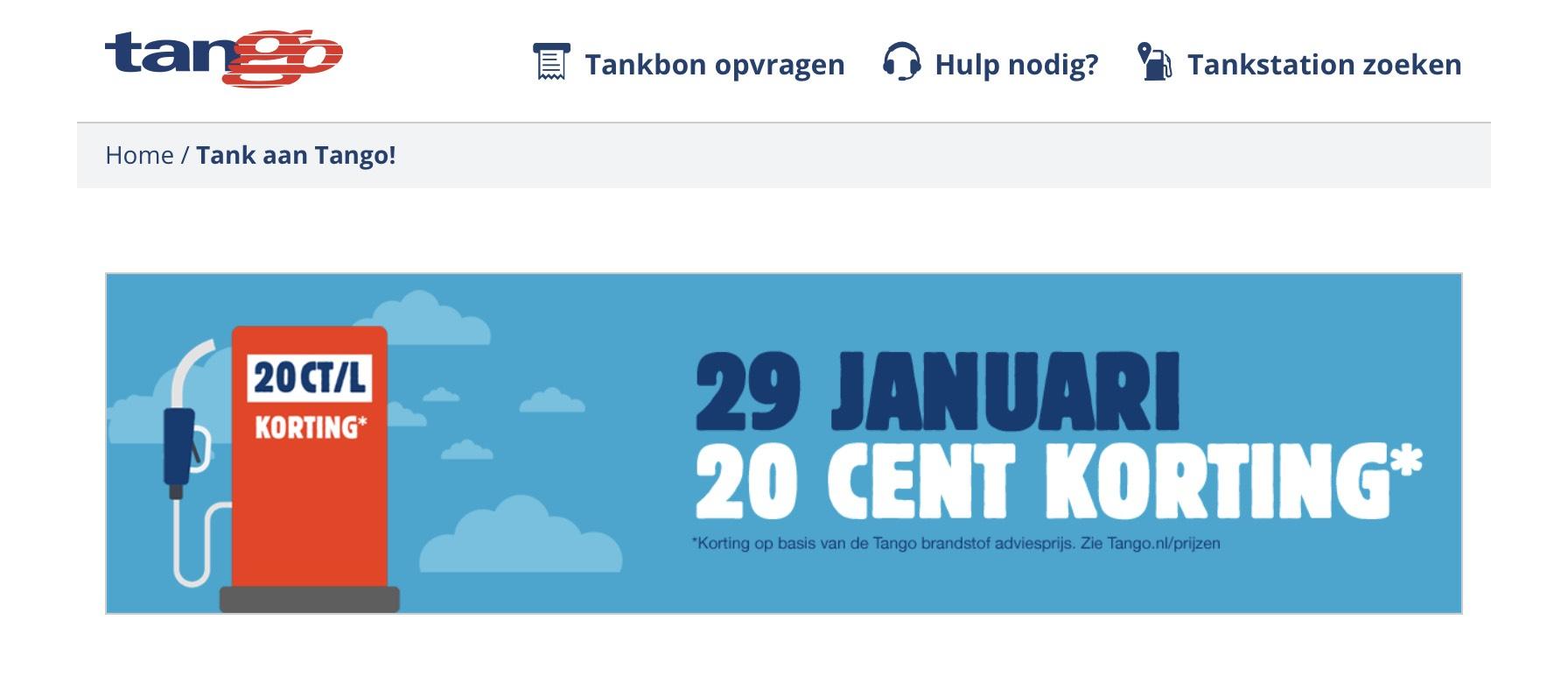 Tango 29 Januari extra korting op brandstof