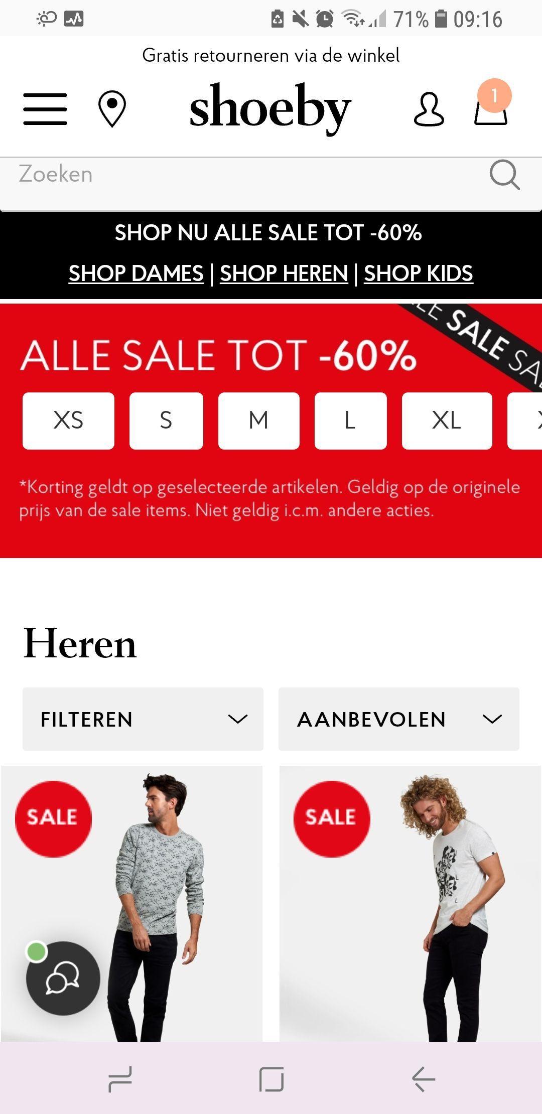 Vandaag alle sale bij Shoeby winkels 3=1 online 60% korting