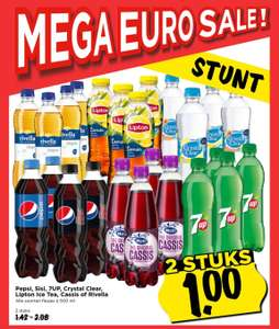 Pepsi, 7up, Lipton, Crystal clear, Rivella en Hero cassis 2 voor €1 0.5L @Vomar