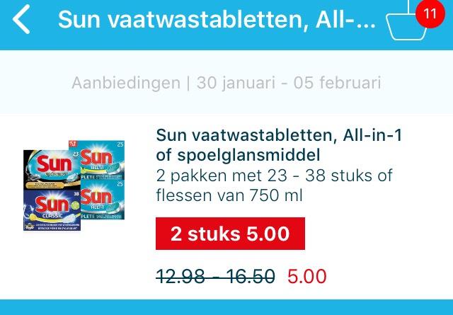 Hoogvliet alle sun vaatwastabs 2 dozen voor 5 euro
