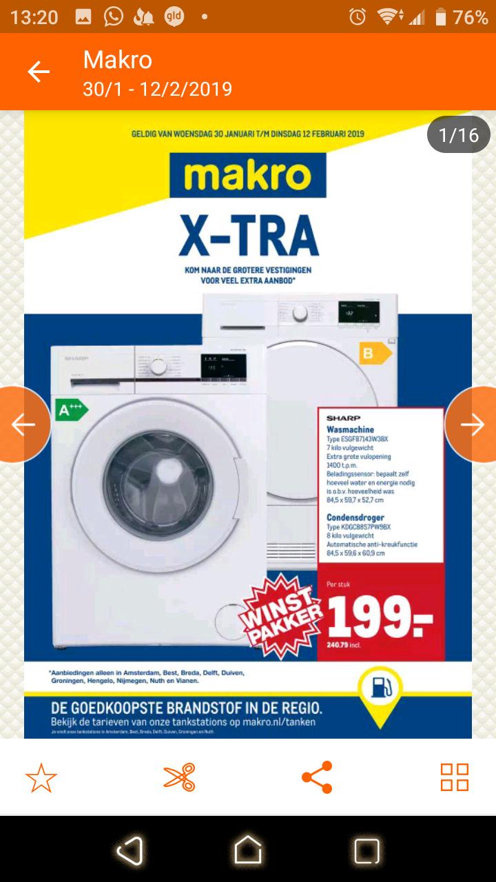 Makro Sharp wasmachine 7kg A+++ €240