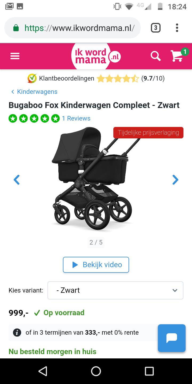 Kinderwagen Bugaboo Fox in het zwart