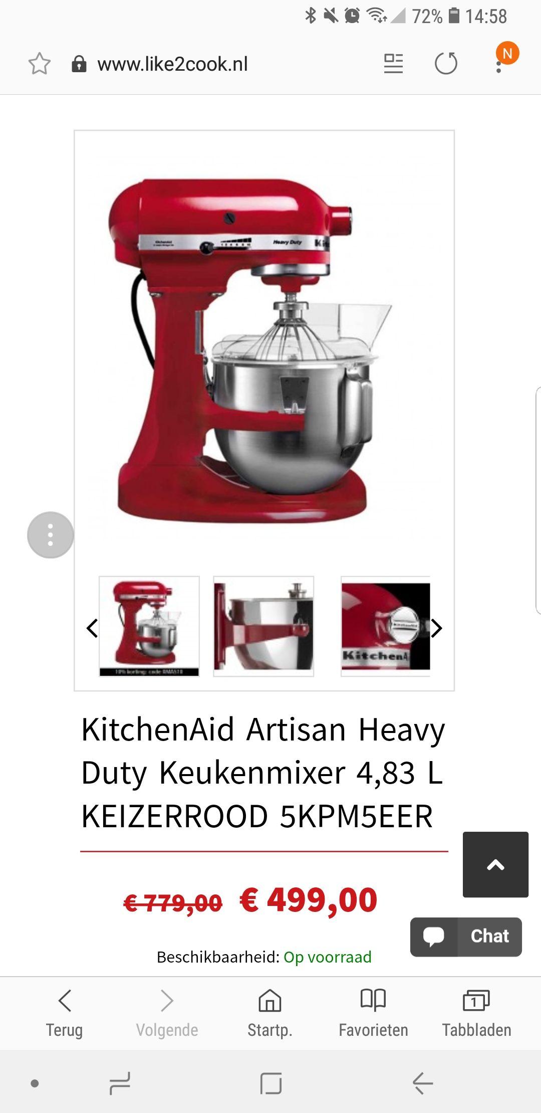 KitchenAid Artisan Heavy Duty Keukenmixer 4,83 L KEIZERROOD 5KPM5EER