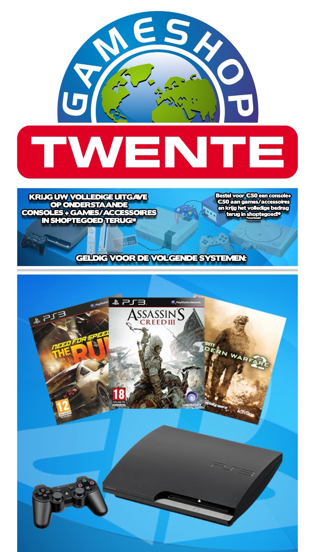 Krijg je aankoopbedrag in shoptegoed terug bij aankoop van oude console + games/accessoires @ Gameshoptwente
