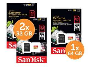 Sandisk Extreme microSD Geheugen, Class 10, UHS-I, 60MB/s - 2x32GB of 1x64GB EUR 36,95@Ibood