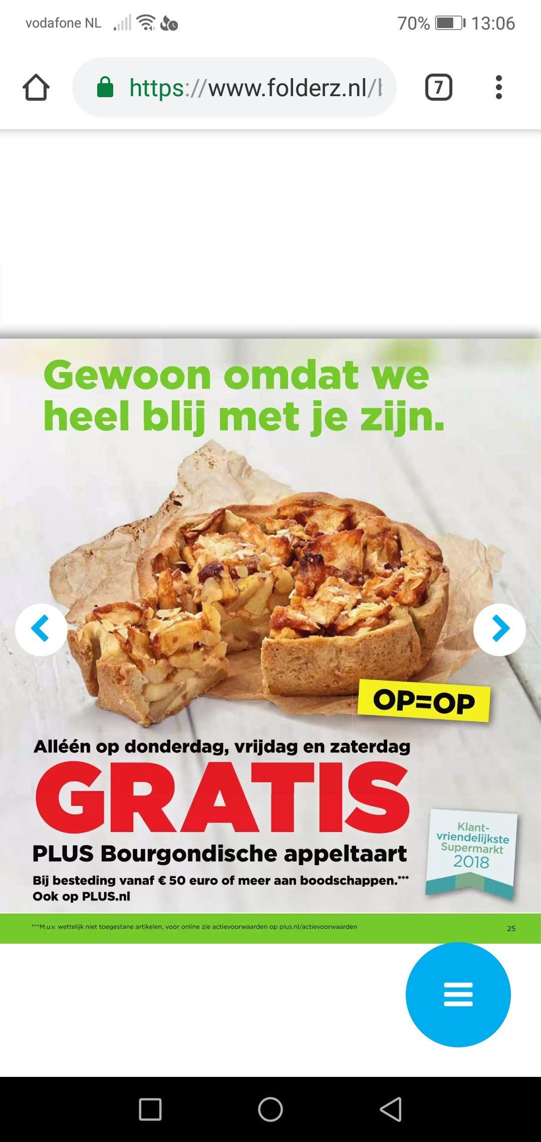 Volgende week donderdag vrijdag zaterdag gratis appeltaart plus supermarkten bij besteding van 50 euro