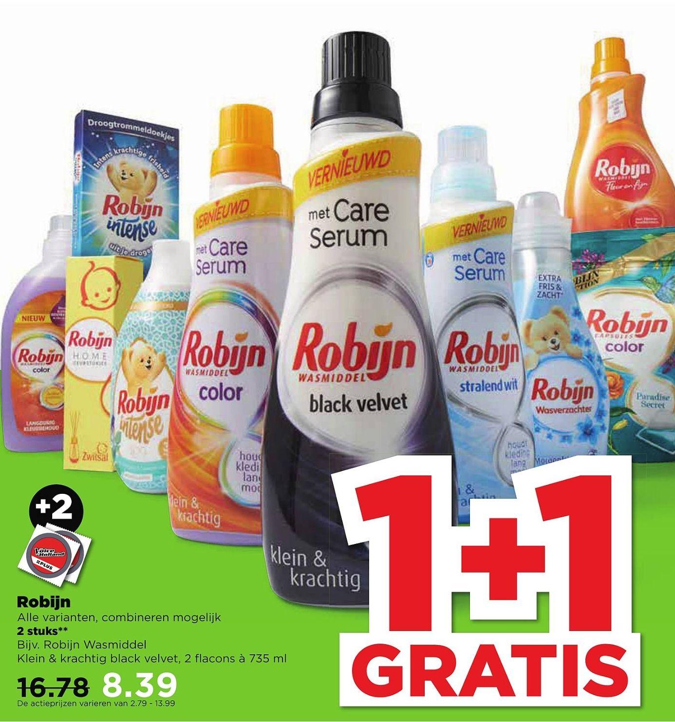 1+1 gratis - Alle varianten Robijn @PLUS