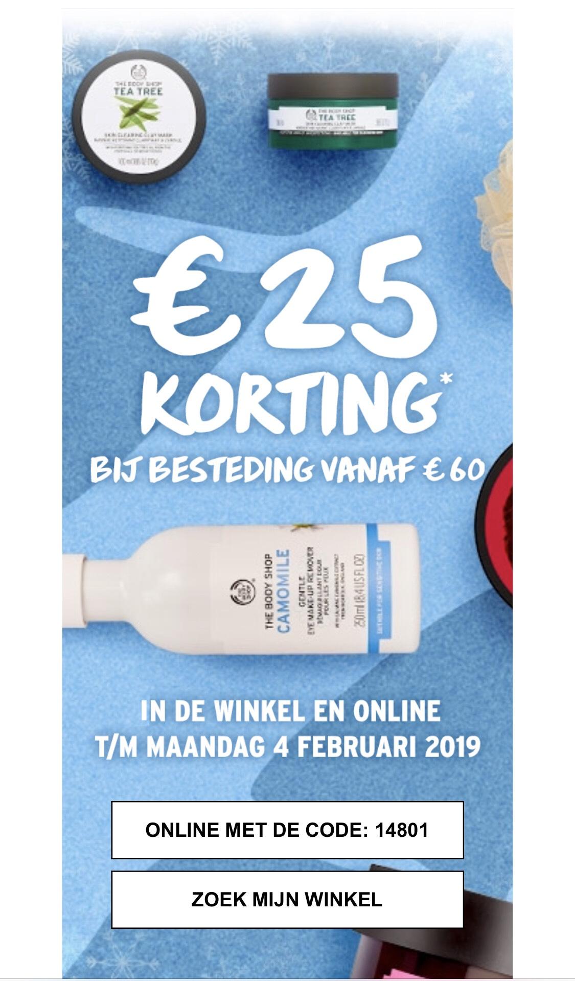 The Body Shop €25 korting vanaf €60