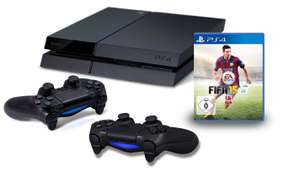PS4 + Fifa 15 + 2 x Dual Shock 4 wireless controller 405,70 @ amazon, incl verzenden