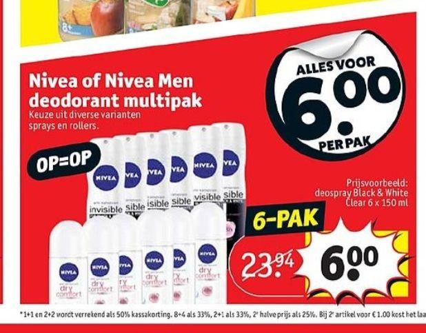 @Kruidvat, 6x nivea deodorant multipak €6.00