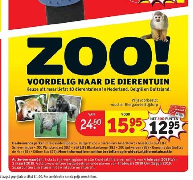 @Kruidvat, voordelig naar de dierentuin met punten €12.95