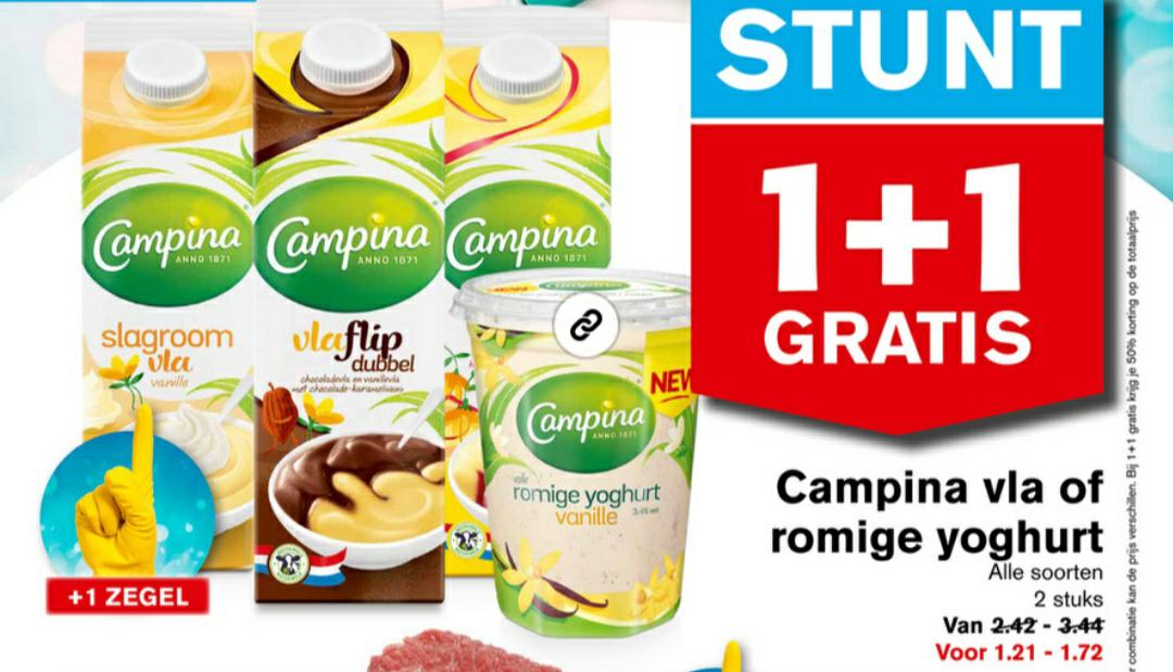 Campina vla of yogurt alle soorten 1+1 gratis @Hoogvliet