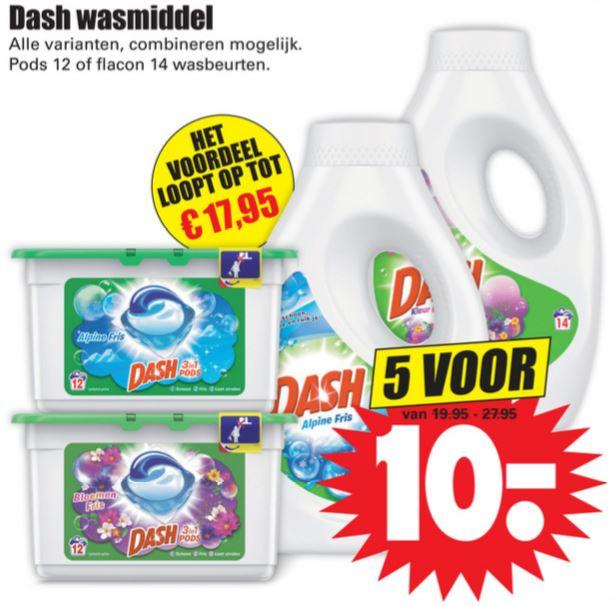 DASH: 5x voor €10 @ Dirk / Dekamarkt