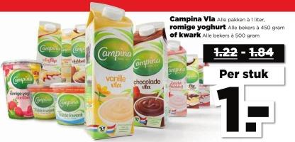 Campina Vla, yoghurt, kwark voor € 1