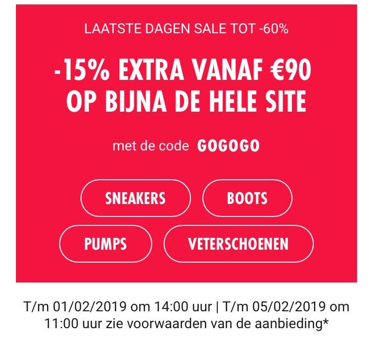 -15% extra korting op bijna de hele site vanaf €90