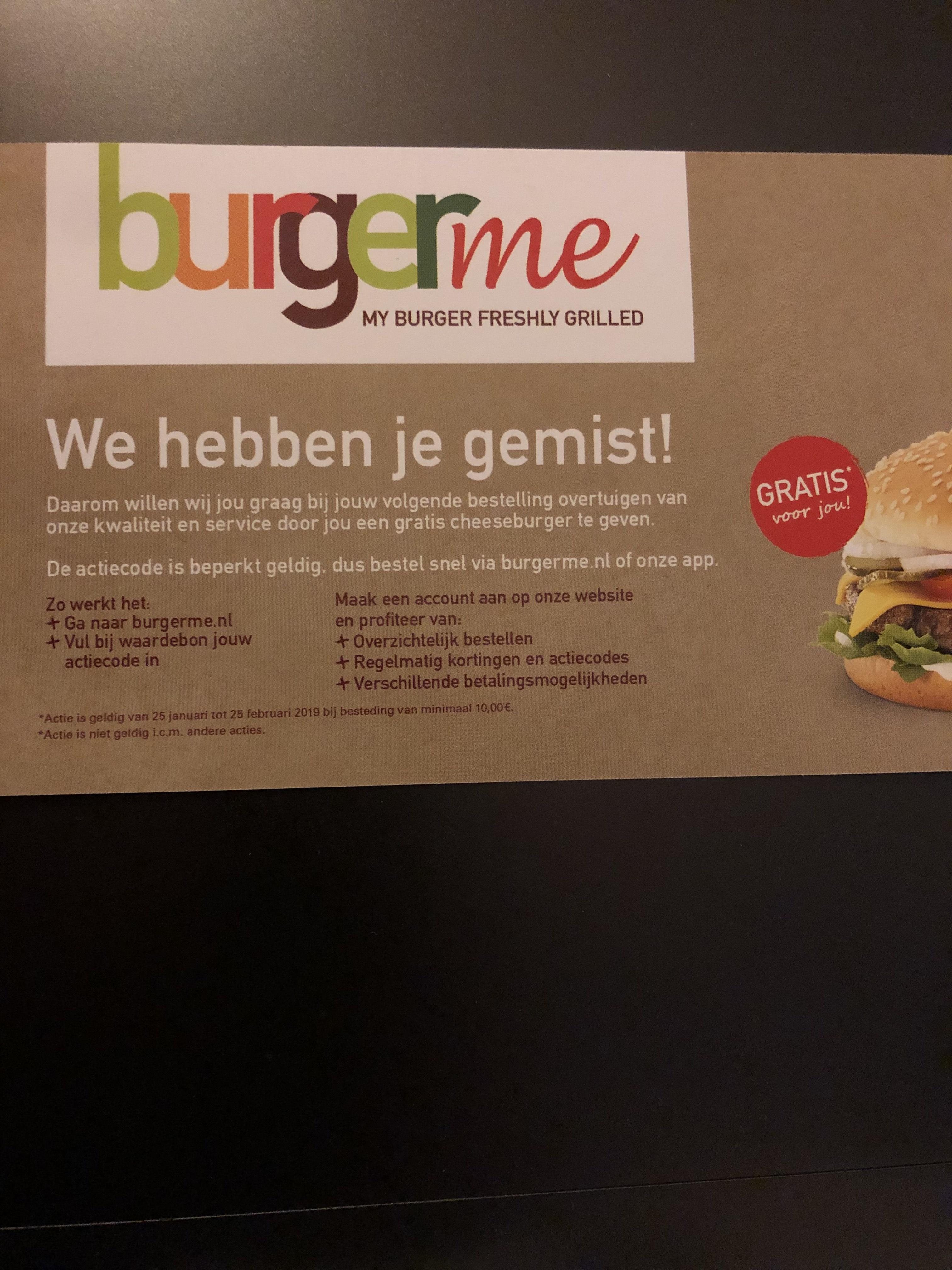 Gratis cheeseburger bij burgerme bij je bestelling