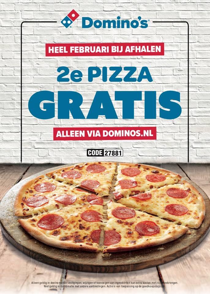 [LOKAAL?] 2e Pizza Gratis Bij Afhalen @ Domino's
