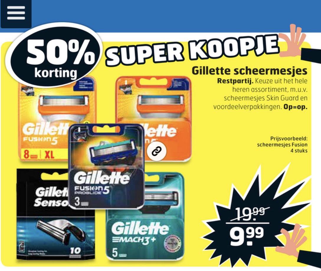 Gillette scheermesjes 50% korting @Trekpleister