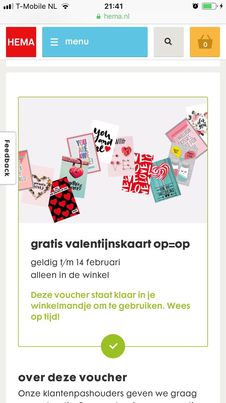 Hema Voucher: gratis valentijnskaart