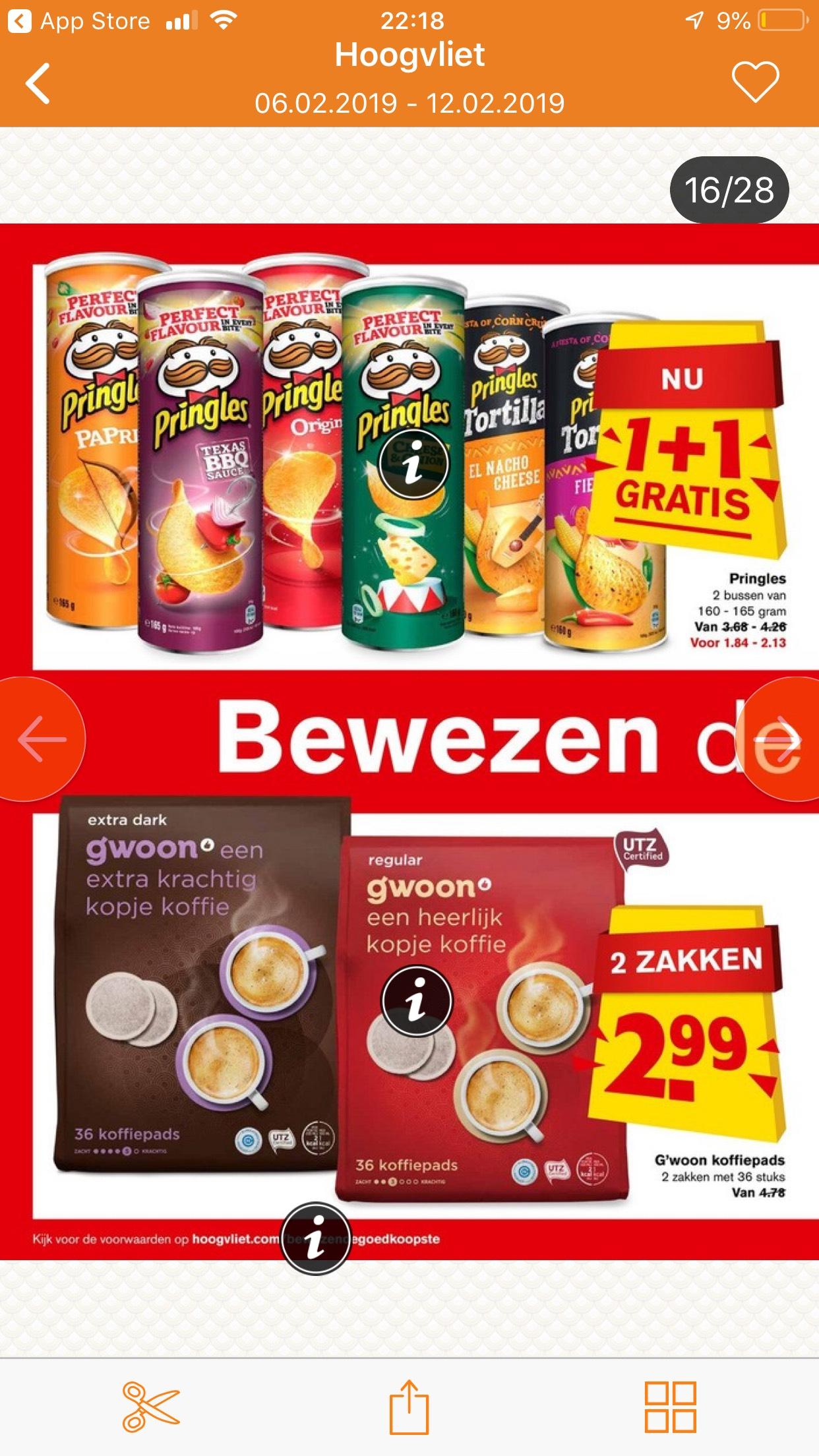 Pringles 1+1 gratis bij Hoogvliet