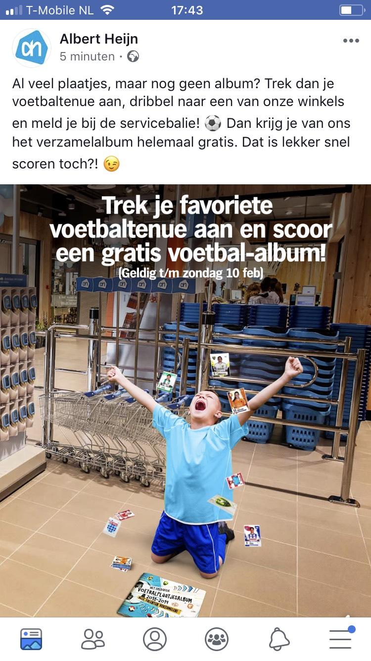 AH Albert Heijn voetbalplaatjes album gratis