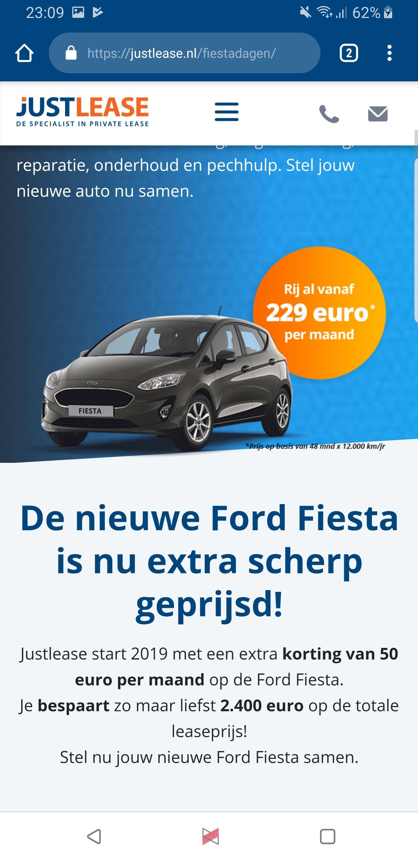 50 euro korting per maand op alle ford fiesta private lease modellen