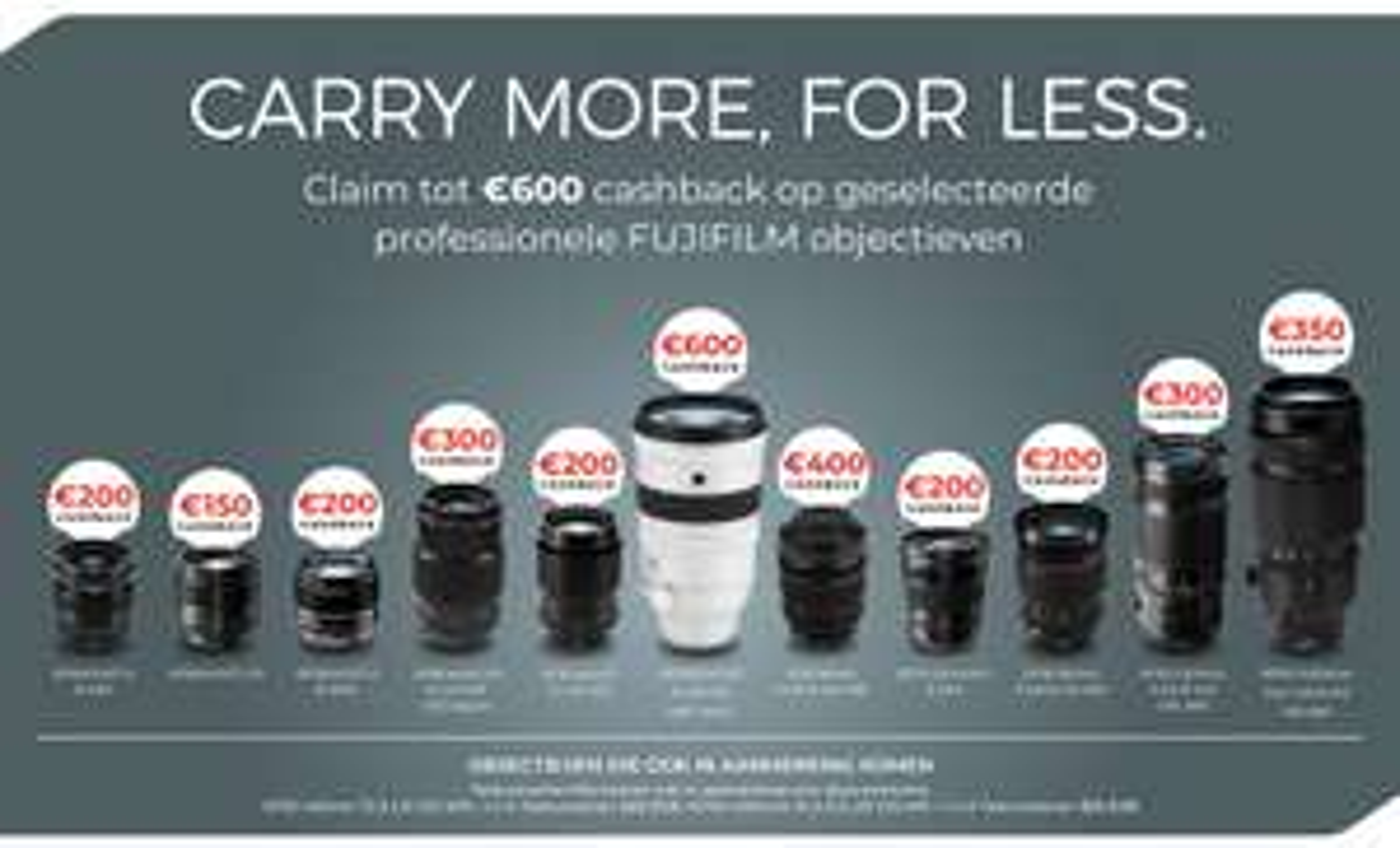 Fujifilm objectieven tot 600,- cashback