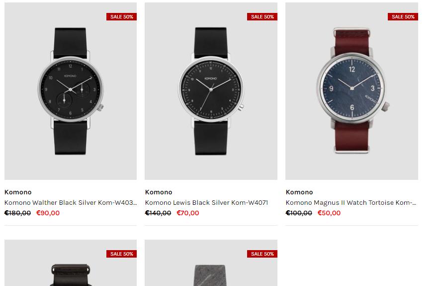 5 Komono horloges met 50% korting bij Freshcotton, prijzen vanaf 50 euro