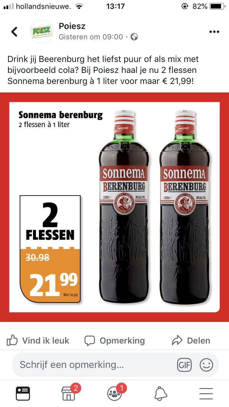 2 flessen (1 liter) Sonnema berenburh voor €21.99!