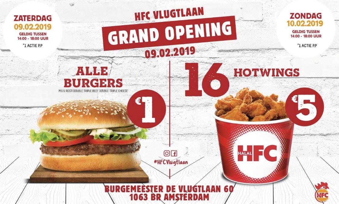 [lokaal] Alle burgers €1 - 16 hotwings €5 op za 9 & zo 10 februari @HFC A'dam Vlugtlaan