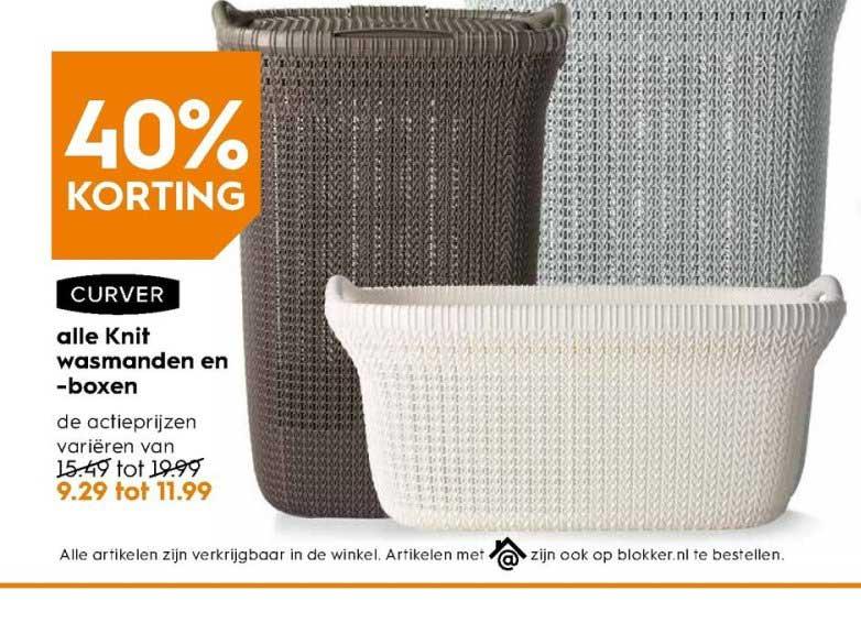 Alle Curver Knit wasmanden €9,29-€11,99. 3 kleuren.