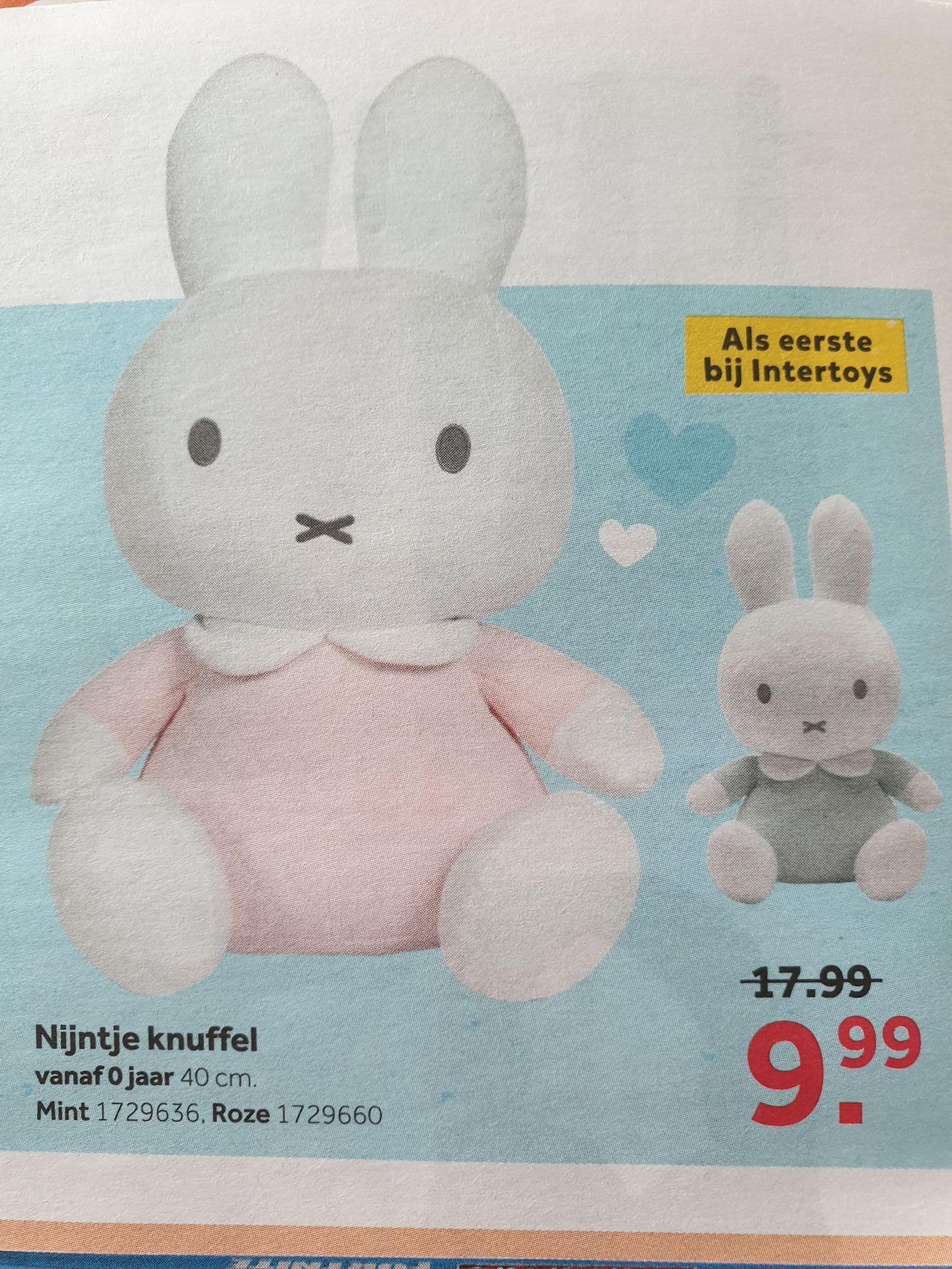 Nijntje knuffel van 40 cm in mint en roze afgeprijsd van € 17,99 naar € 9,99