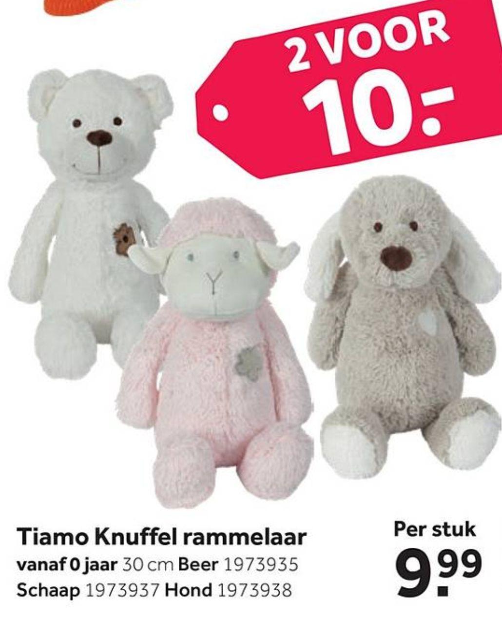 Tiamo Knuffel rammelaars 2 voor €10 (i.p.v. €9,99 per stuk) @Intertoys