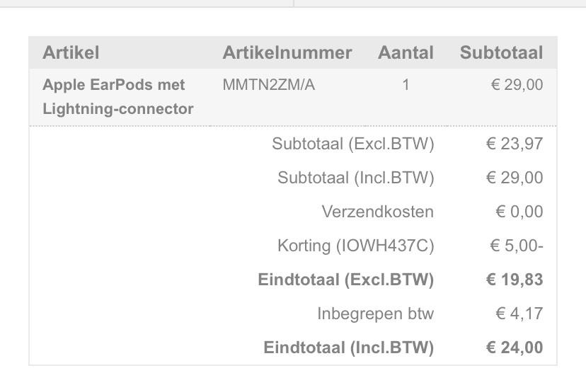 €5 korting op Apple producten