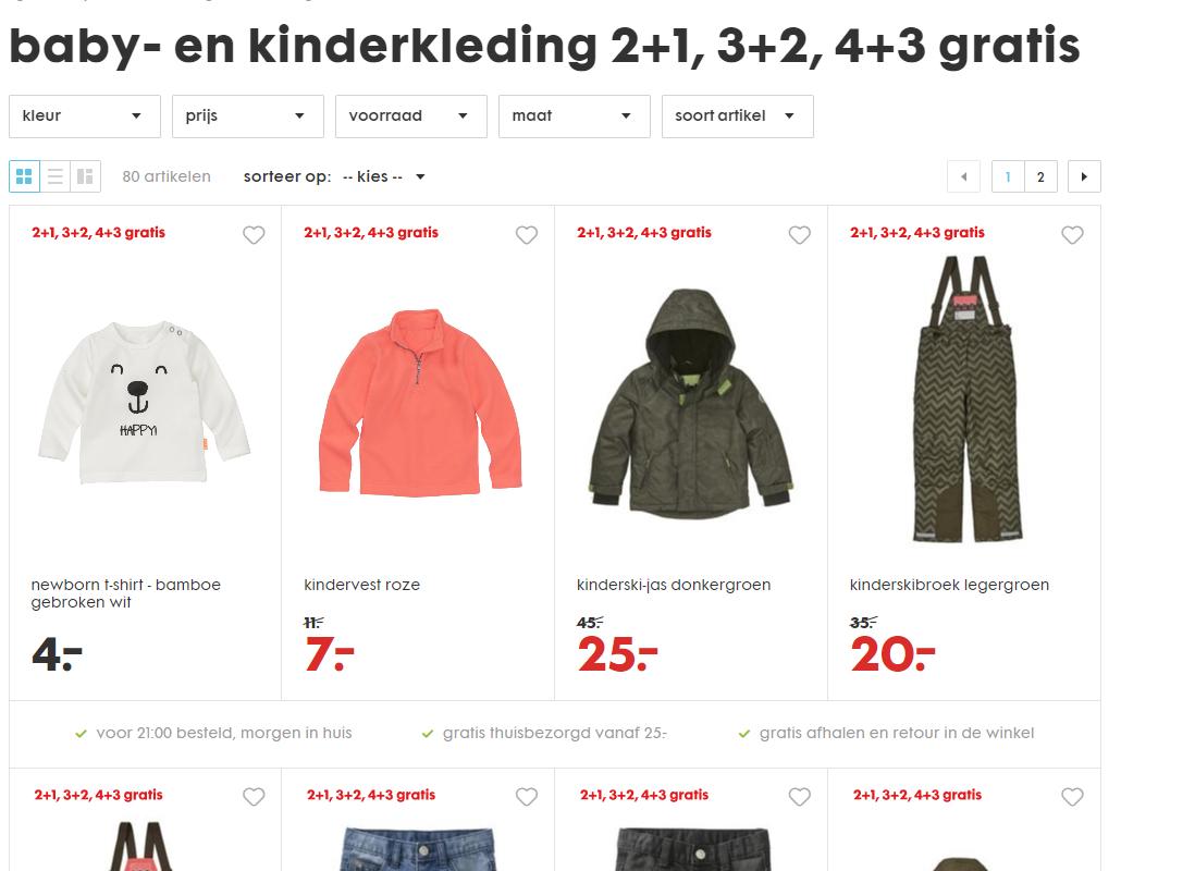 baby- en kinderkleding 2+1, 3+2, 4+3 gratis bij HEMA.nl (80 artikelen)