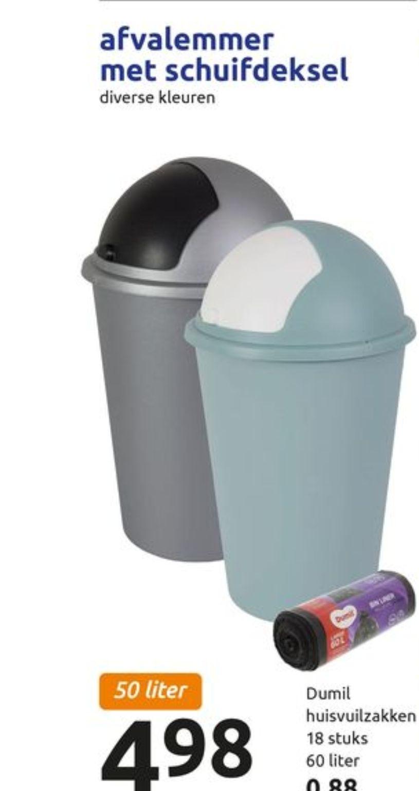 Afvalemmer met schuifdeksel 50 liter (action)