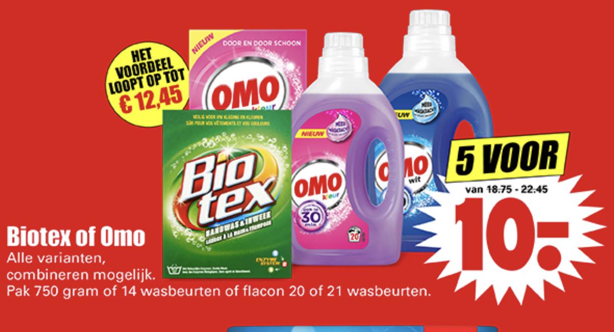 Omo of Biotex wasmiddel 5 voor €10 - (bv: 105 wasbeurten Omo vloeibaar)
