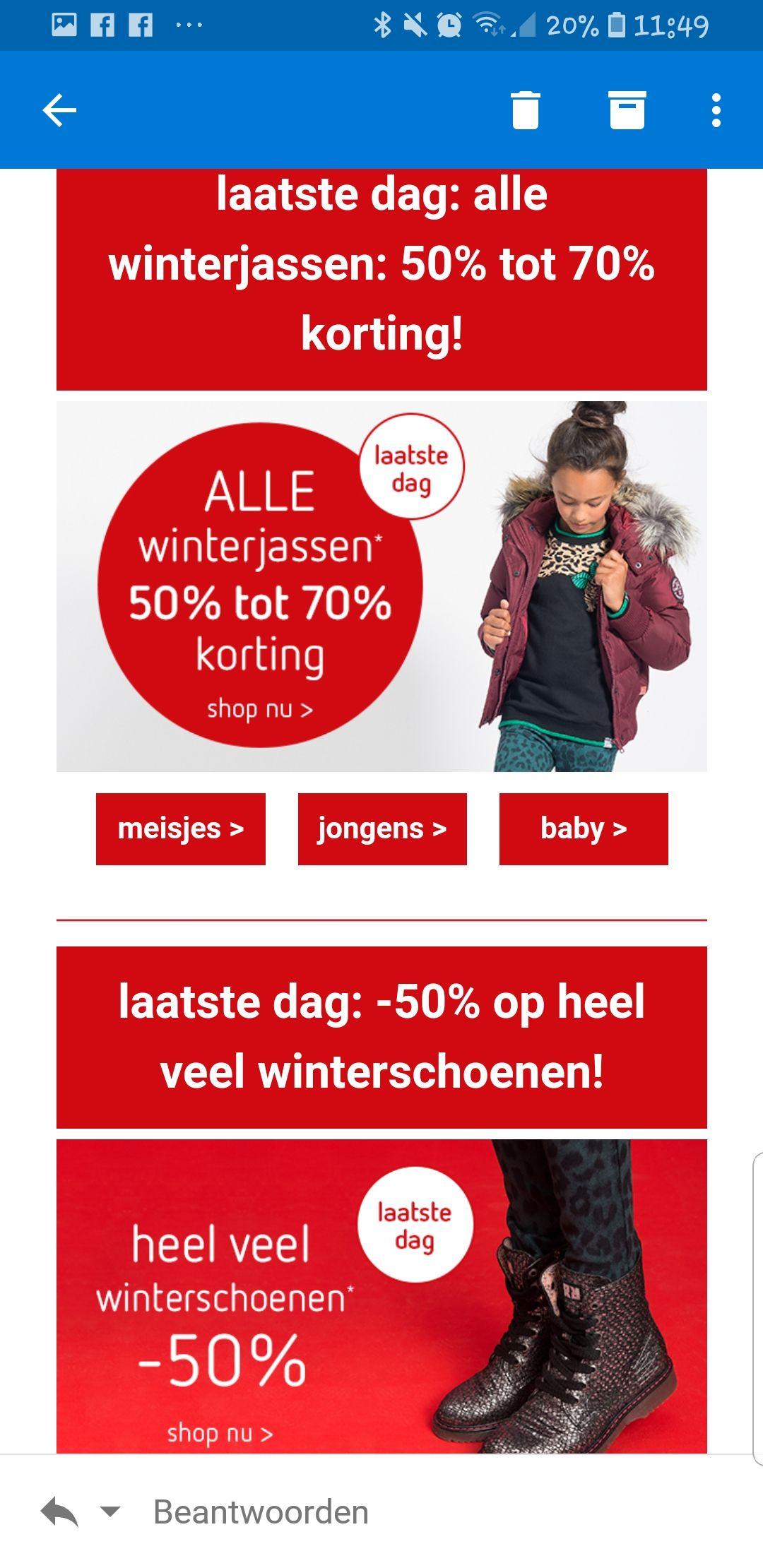 Kinderkleding 50% tot 70% korting in de sale