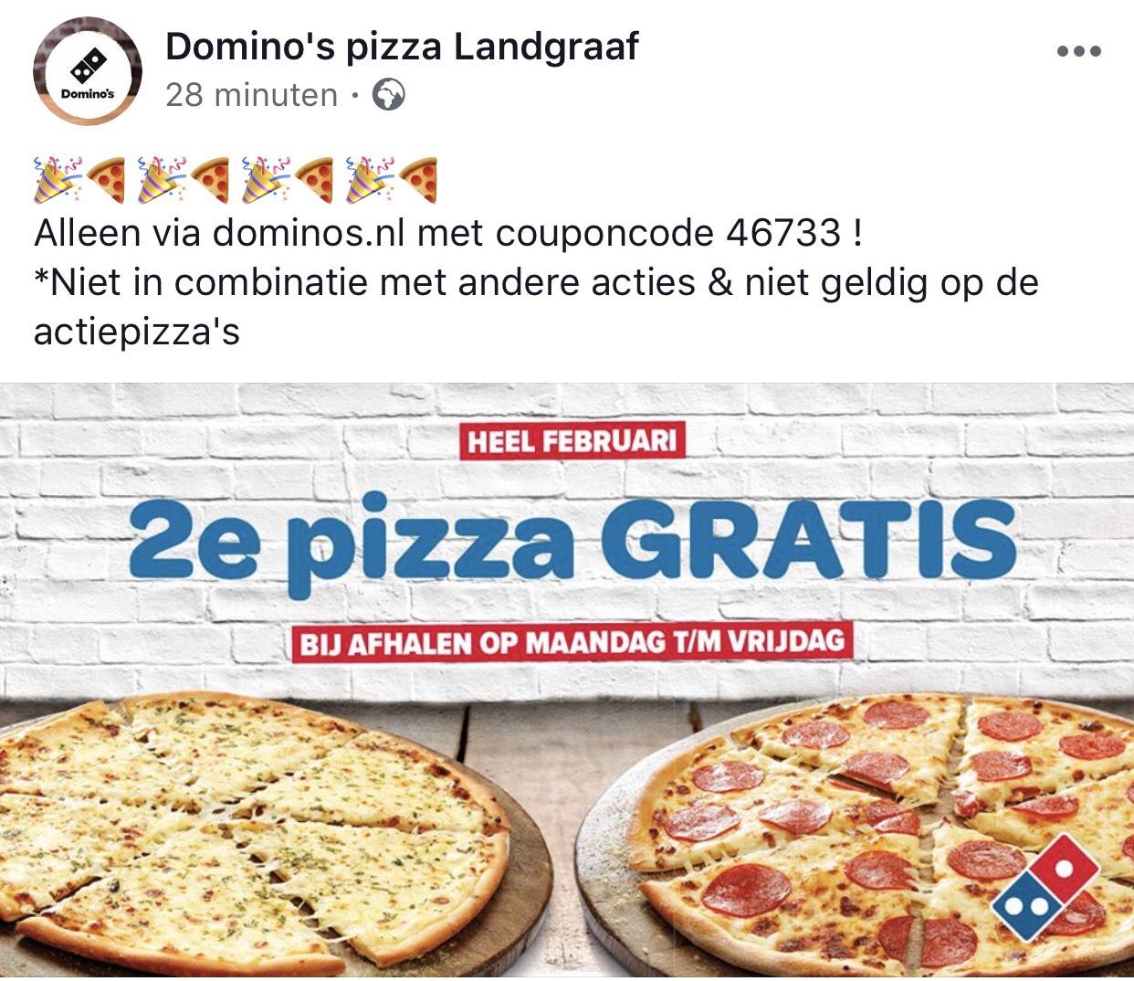 Tweede pizza gratis bij afhalen @Domino's