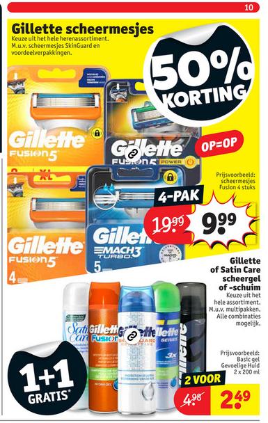 Gillette 50% korting op scheermesjes @Kruidvat