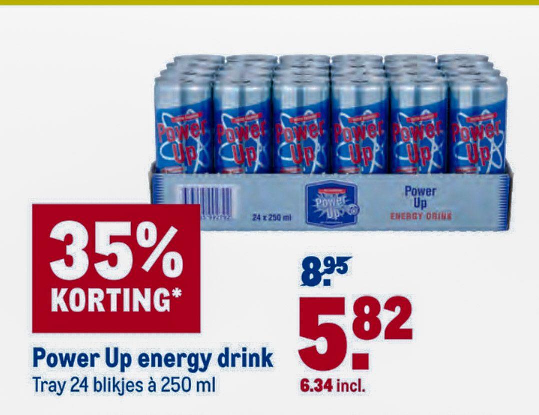 Energy drink 'Power up'. tray 24 blikjes met 35% korting voor €6,34