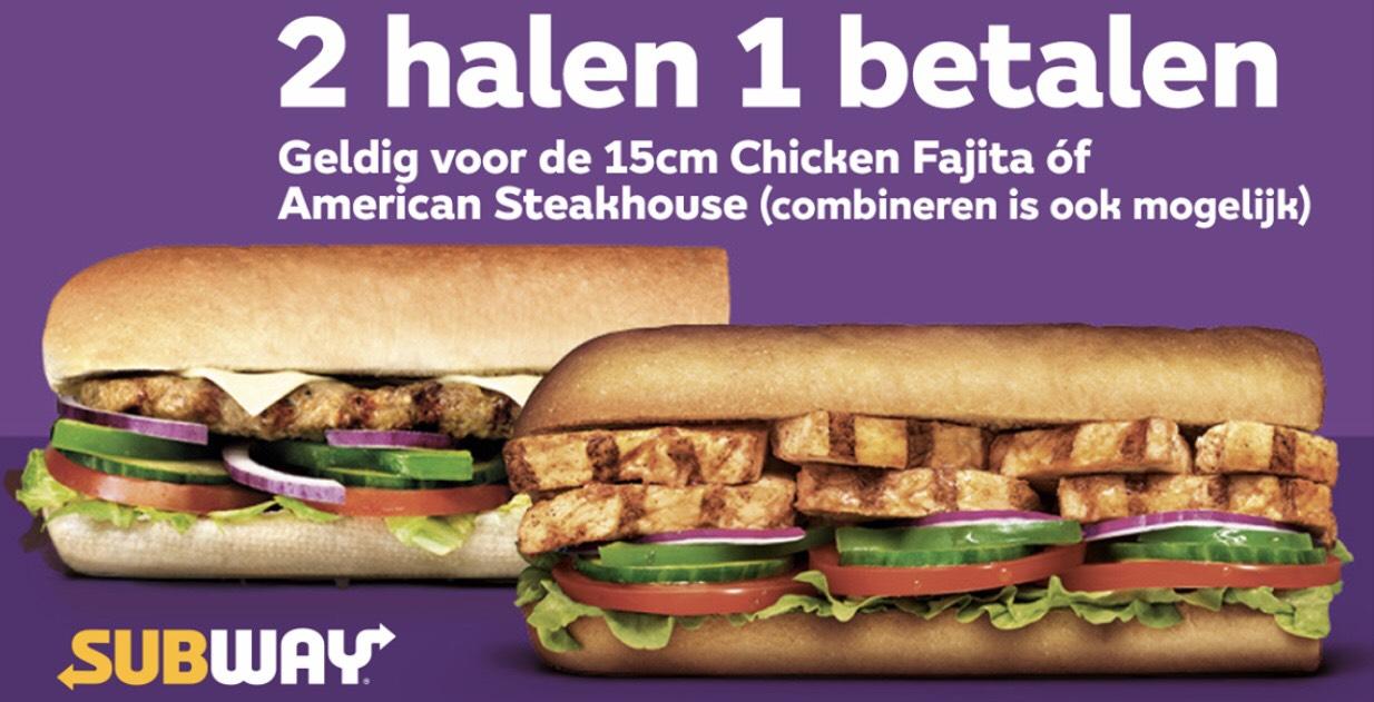 2 Subs Halen, 1 Betalen @ Subway