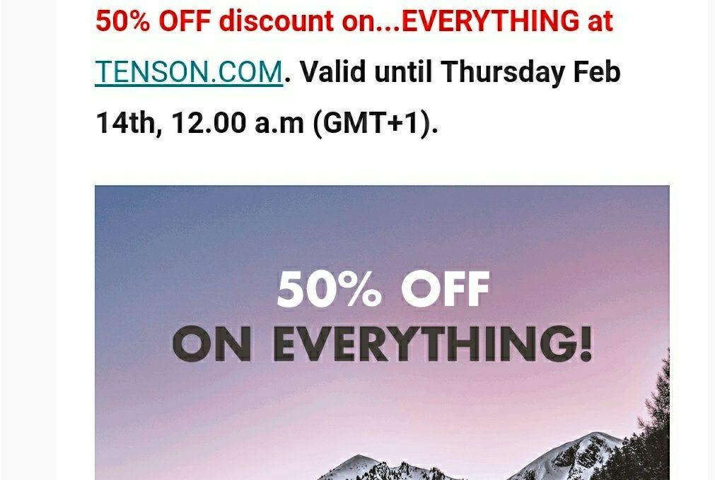 Alles 50% korting op TENSON.COM. tot 14 februari