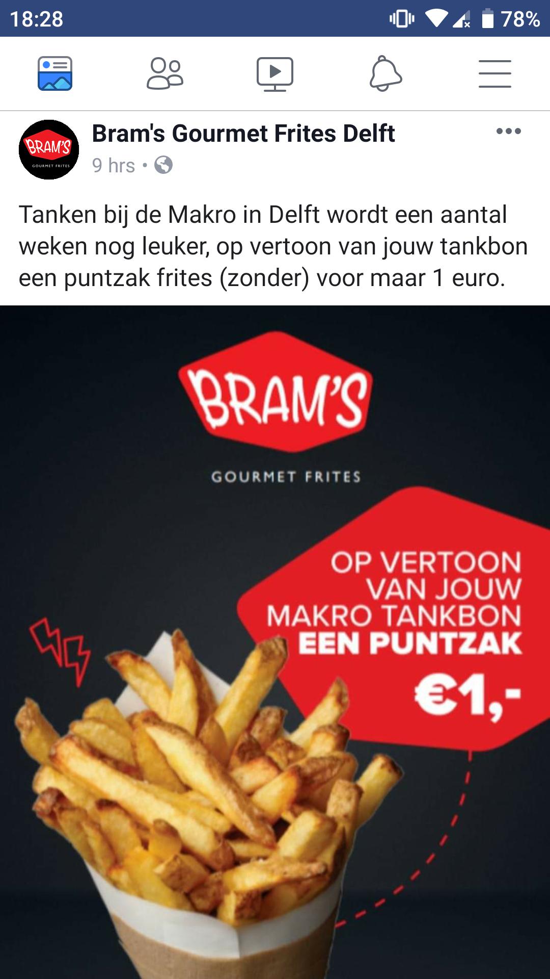 Delft: Bram's Gourmet puntzak friet 1 eur (met Makro tankbon).