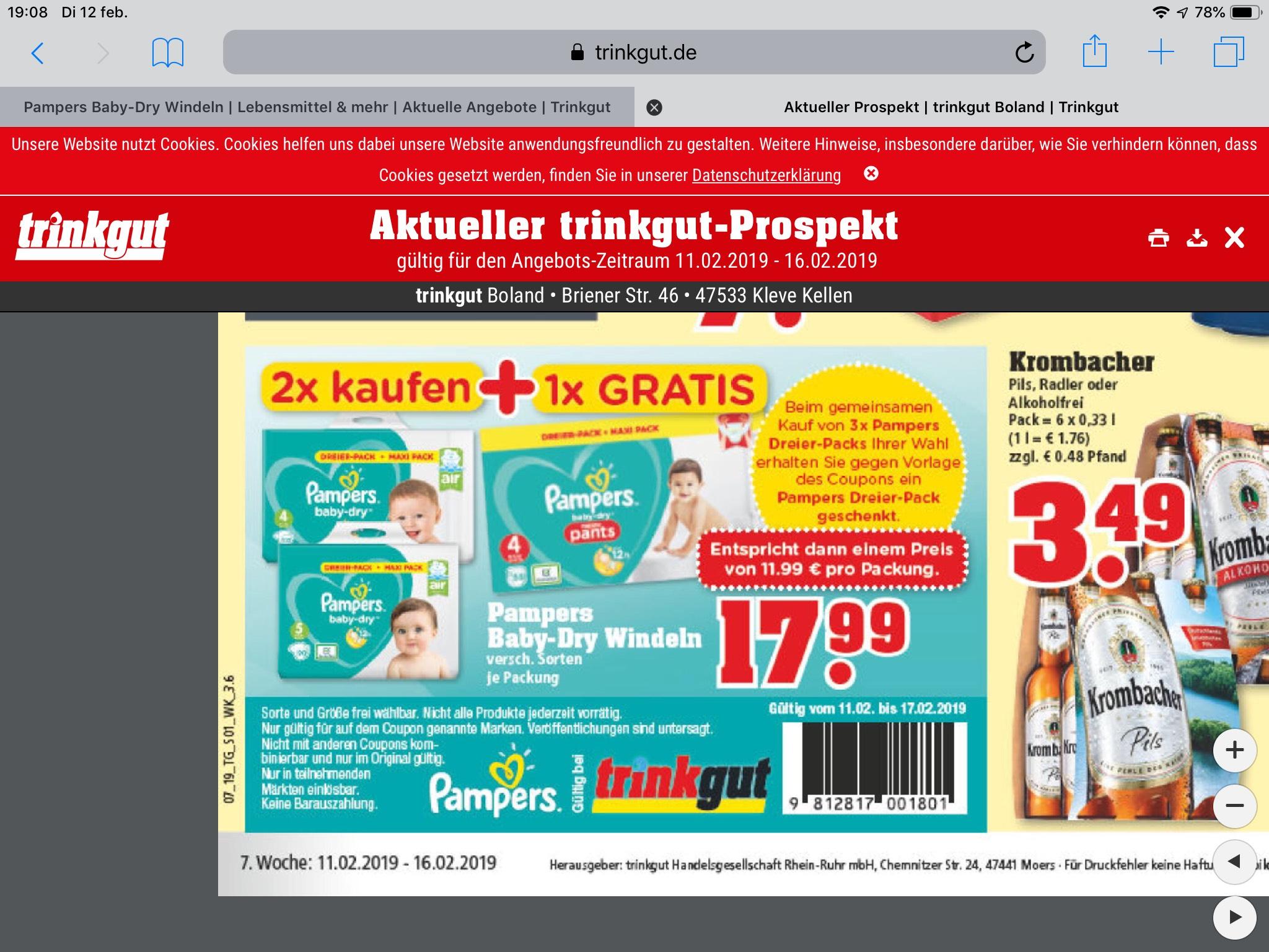 (Grens deal). 264 pampers  maat 4 pants... voor 35,98 = 1 pack a 88 stuks gratis.