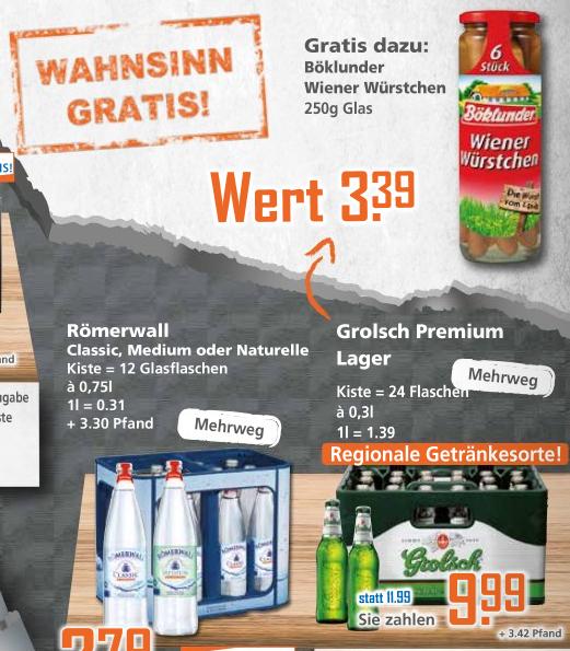 [Grensdeal] Krat Grolsch 24x0,30l voor €9,51 + gratis pot Wiener Würstchen bij K+K (Duitsland)