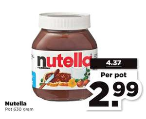 Nutella 630 gram €2,99 (i.p.v. €4,37) @PLUS